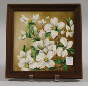 19th Century Framed Floraldecorated Ceramic Tile