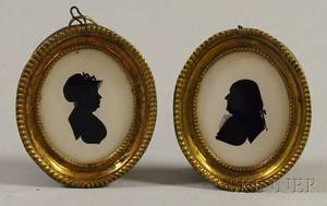 Pair of 18thcentury Brassframed Miniature Silhouettes of Mr and Mrs Friedrich Kleff