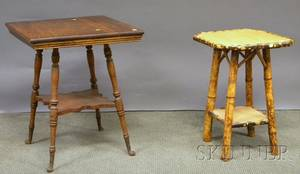 Victorian Bamboo Occasional Table and a Late Victorian Oak Occasional Table