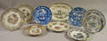 Nine Staffordshire Transferdecorated Plates and a Platter