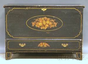 Blackpainted and Decorated Pine Blanket Chest over Long Drawer