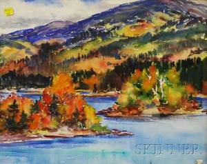 American School 20th Century Fall Landscape with Lake