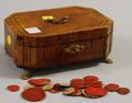 Empire Footed Veneered Wooden Lock Box