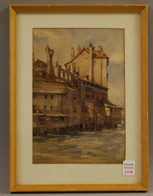 Framed Watercolor View of a Harbor
