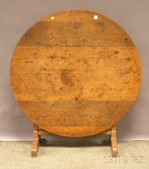 French Provincial Oak Tilttop Vintners Table with Trestle Base
