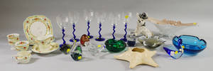 Lot of Assorted Decorative Art Glass Ceramic Tableware Other Articles and Three Framed Items