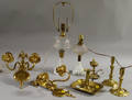 Six Brass Lighting Devices and Two Pressed Glass Oil Lamps