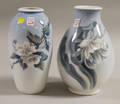 Two Royal Copenhagen Porcelain Floraldecorated Vases