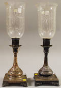 Pair of Silverplated Footed Candlesticks with Colorless Wheelcut Shades