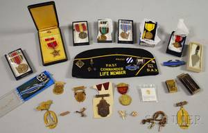 Group of Military and Collectible Medals Pins and Regalia