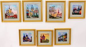 Group of 7 Anatol Krasnyansky Cityscape Serigraphs