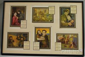 Three Framed Show Business Autographs and a Framed Set of Six Reproduction She Goes To War Lobby Cards