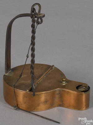 Oversize copper and iron fat lamp 19th c