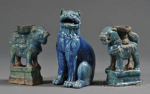 Three Turquoise Glazed Pottery Figures