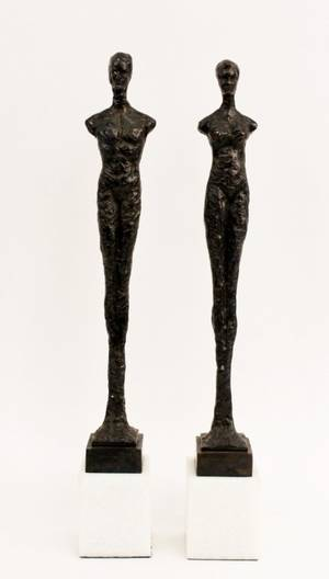 Pair of Bronze Giacometti Style Figural Sculptures