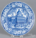 Historical blue Staffordshire Boston State House plate