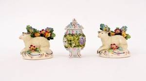 Group of Three Dresden Porcelain Items