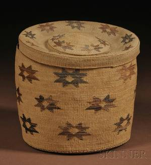 Tlingit Twined Lidded Basket