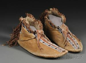 Pair of Apache Beaded Hide Mans Moccasins
