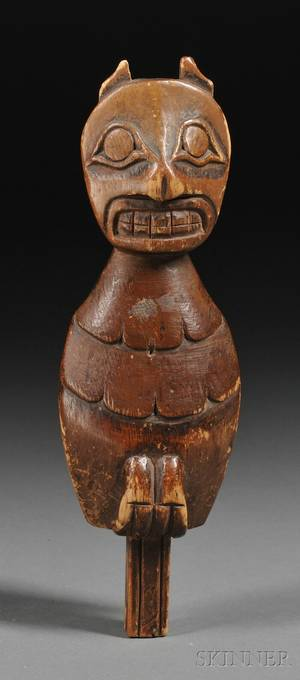 Northwest Coast Carved Wood Bird Totem