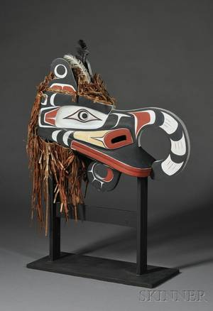 Northwest Coast Polychrome Carved Wood Cannibal Bird Headdress