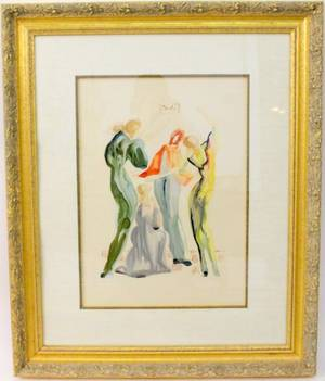 After Salvador Dali Les Servantes Lithograph