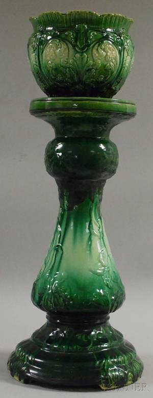 English Majolica Glazed Art Pottery Jardiniere and a Pedestal