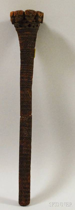 Austral Islands Chipcarved Wood Paddle Handle