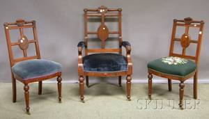 Set of Eight Victorian Renaissance Revival Upholstered Carved Walnut Dining Chairs