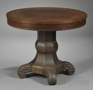 Victorian Circular Marquetry and Parquetry Veneer Library Table