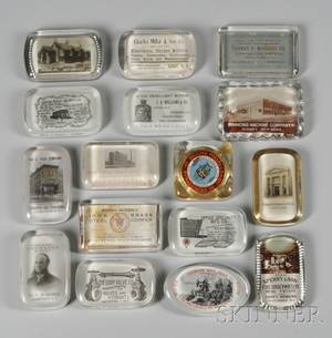 Twentyone Early 20th Century New York State Mostly Advertising and Travel Glass Paperweights