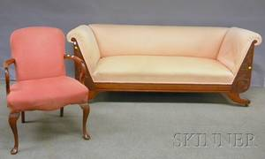 Classical Revival Upholstered Carved Mahogany Sofa and a Queen Annestyle Upholstered Mahogany Armchair