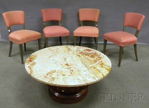 Modern Marbletop Moghulstyle Carved Hardwood Coffee Table and a Set of Seven Art Moderne Upholstered Graypainted Side Chairs