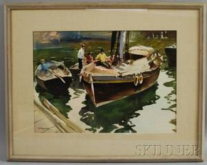 Victor Pavlosky American 18841944 Spring Thaw Boston Common Boats at Dock