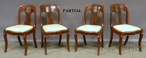 Set of Six Empire Mahogany Side Chairs with Upholstered Slip Seats
