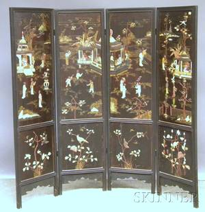 Asian Black Lacquered Fourpanel Folding Floor Screen with Carved Hardstone and Ivory Scenic Decoration