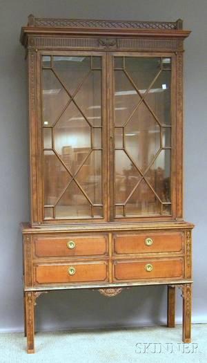 Regencystyle Glazed Carved Maple Book Cabinet
