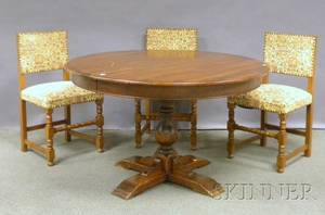 William  Marystyle Round Walnut Pedestalbase Table with a Set of Three Upholstered Oak Chairs
