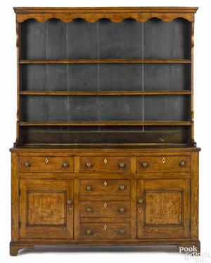 Welsh oak pewter cupboard 18th c