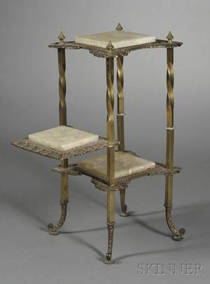 Victorian Onyx and Brass Threetier Plant Stand