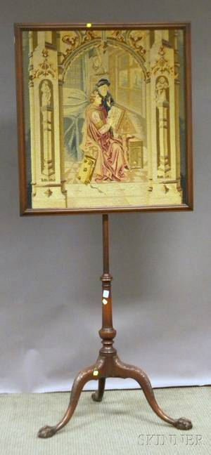 Georgianstyle Carved Mahogany Firescreen with Needlepoint Panel
