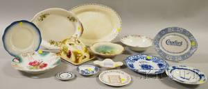 Seven Pieces of Advertising and Souvenir Porcelain Tableware and Seven Pieces of Miscellaneous Decorated Ceramic Tableware