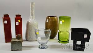 Six Pieces of Contemporary Glazed Art Pottery and Two Contemporary Art Glass Vases
