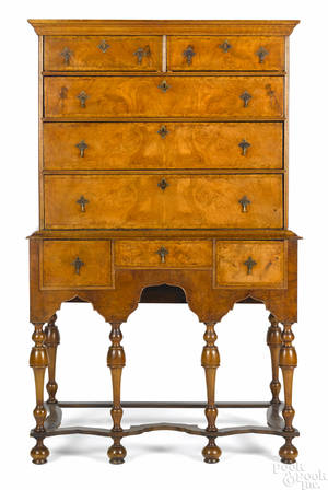 George I burl veneer high chest ca 1730