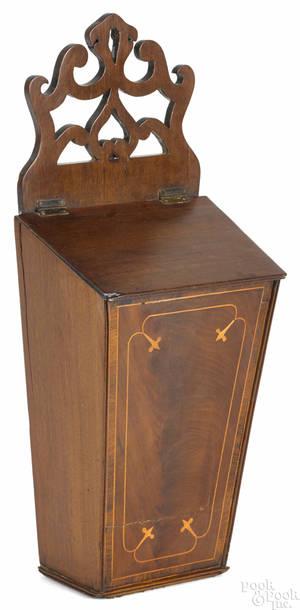 English mahogany hanging cutlery box ca 1800