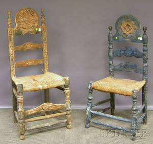Two Spanish Colonial Carved and Painted Wood Slatback Side Chairs with Woven Rush Seats