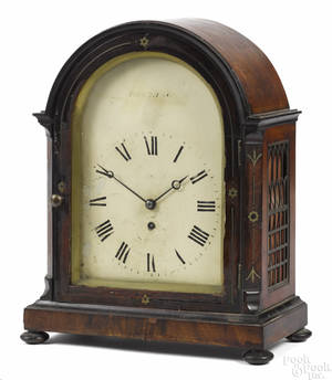 George III mahogany bracket clock late 18th c