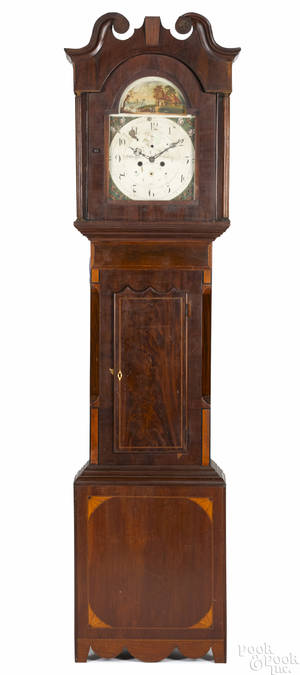 English mahogany tall case clock early 19th c