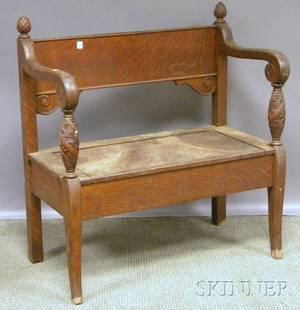 Colonial Revival Carved Oak Hall Bench with Lift Seat