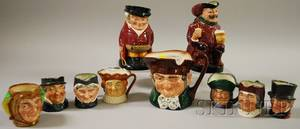 Eight Assorted Royal Doulton Ceramic Character Jugs and Two Toby Jugs